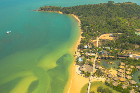 aerial view beach and resort in Mae Mai gulf at Phayam island Ranong province Thailand