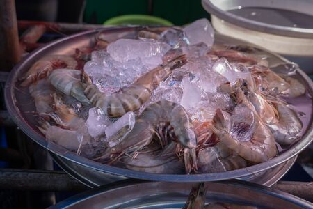 ice cover fresh prawn for sale in fresh market