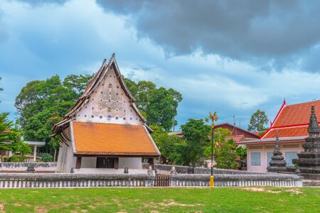 white cloud in blue sky above the old church of wat Ban Lang temple in Rayong province Thailand. the old church was built in Ayutthaya period Reklamní fotografie