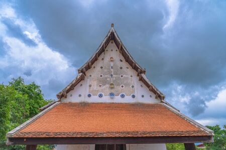 beautiful Chinaware bowls decorated on the wall of church at wat Ban Lang temple in Rayong province Thailand. the old church was built in Ayutthaya period Reklamní fotografie