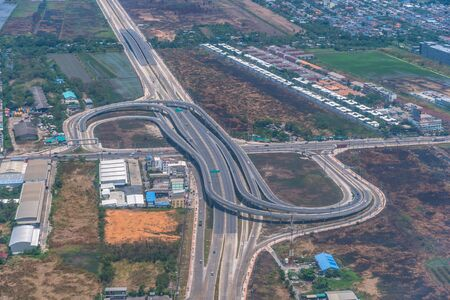 aerial view main road near Suvarnabhumi Airport.  Many roads are connected to support the tight traffic near Suvarnabhumi Airport 版權商用圖片