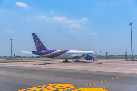 Suvarnabhumi Airport, Samutprakan, Thailand - June, 19, 2019 : Thai Airway Aircraft Parked at Suvarnabhumi Airport