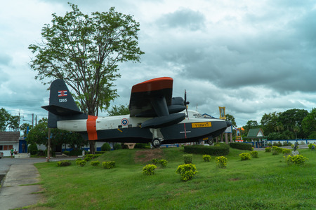Rayong, Thailand - June 18, 2019:The old fighters were displayed at the entrance of the Naval Aviation Division.