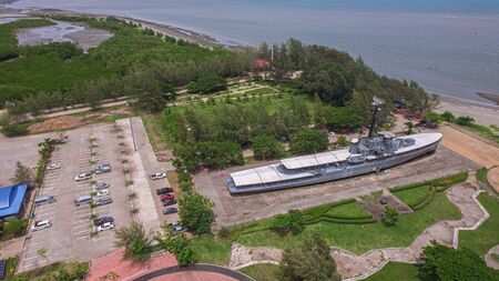 aerial view Remembrance Lhuangprasae Battleship discharge stop on land in Rayong Thailand