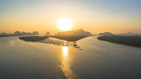 aerial view archipelago in Phang Nga gulf in the morning