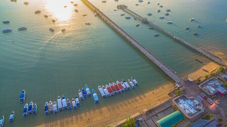 aerial photography at Chalong pier. Chalong bay is the most important marina of Phuket there have 2 piers and customs at pier. Chalong pier transport tourist to travel around islands in Andaman sea