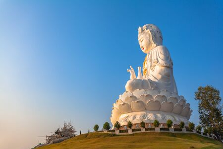 the biggest Guanyin statue in Chinese temple wat Hyua Pla Kang at Chiang Rai north of Thailand.