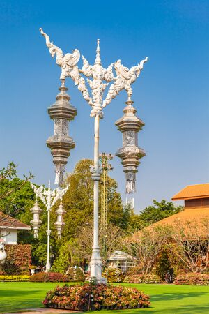 Lanterns go on beautiful patterns decorated at the square in the center of Chiang Rai city.
