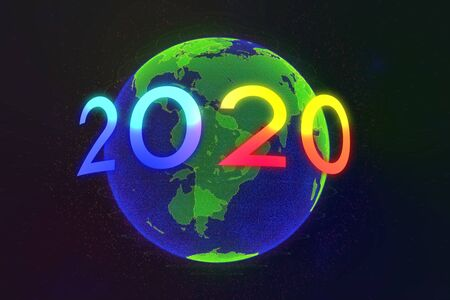 motion element year 2020 turn around the world in universe 版權商用圖片