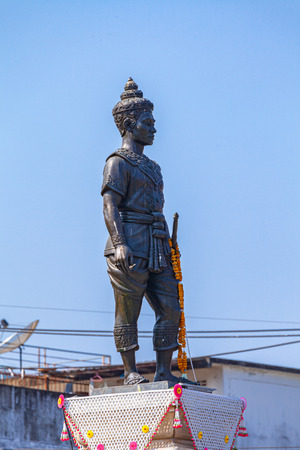 CHIANG RAI, THAILAND - FEBRUARY, 21, 2018 : King Mengrai the Great Monument in Chiang Rai Central Square Is a place of rest  and worship for the people of Chiang Rai