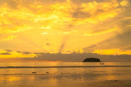 beautiful color of cloud in the sky at sunset above the sea at Kata beach Phuket