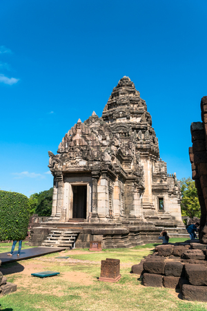 The beautiful stone castle in Phimai historical park. Prasat Hin Phimai ancient Khmer Temple in Nakhon Ratchasima Thailand.  Phimai stone castle built from laterite stone in Angkorian period arts