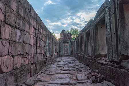 The beautiful stone castle in Phimai historical park. Prasat Hin Phimai ancient Khmer Temple in Nakhon Ratchasima province Thailand. Phimai stone castle built from laterite stone in Angkorian period arts.