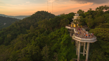 Khao Rang viewpoint tower landmark in Phuket town it is on Tung Ka hill in Phuket town. on Khao Rang viewpoint can see around Phuket island and watching sunrise and sunset Editorial