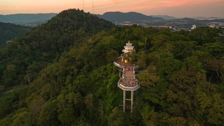 Khao Rang viewpoint tower landmark in Phuket town it is on Tung Ka hill in Phuket town. on Khao Rang viewpoint can see around Phuket island and watching sunrise and sunset