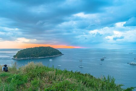Man island in front of Promthep cape and wind turbine viewpoint. Promthep cape and wind turbine viewpoint are popular place in Phuket