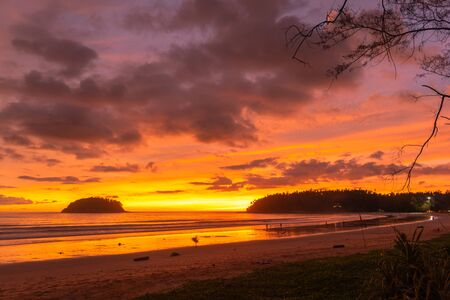 stunning cloud in sunset above Pu island Kata beach Phuket Thailand