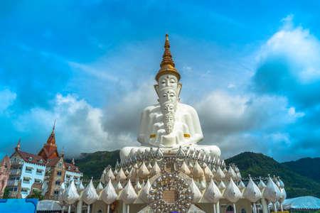 5 sitting buddha statues on Khao Kho hill the beautiful landmark and famous in Petchabun Thailand