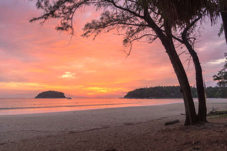 scenery red sky the sun down to the sea.beautiful red sky at sunset in Kata beach Phuket Thailandhigh quality image for travel concept. red sky background.