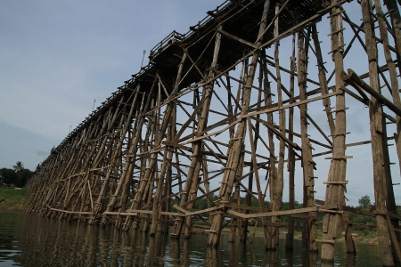 sangkhla buri: Saphan Mon - The 400m wooden bridge itself is well worth a visit and is the longest handmade wooden bridge in Thailand  There is a small cafe on one end which is a great spot for a drink and a view