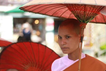 Pink Buddhist Nun or  called Mea-she-see-shom-poo    She does not alway appear at Sangkhla Buri where is located in the far west of the Kanchanaburi province, at the boundary to Myanmar