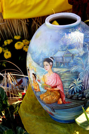 Vase paintings on the walls of the countries in Asia Editorial