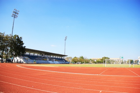 Sports stadium, running track inside the stadium