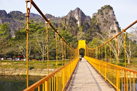 Suspension Bridge to Vang Vieng, Laos  photo
