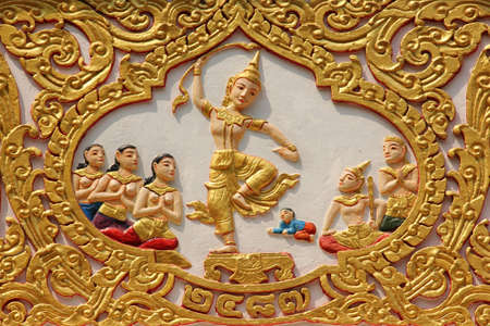 Buddhist carvings art in Thailand Stock Photo