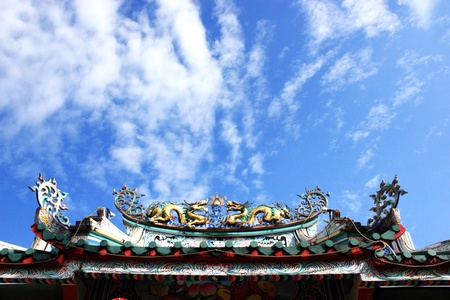 Dragon statue in front of a Buddhist temple in China Stock Photo - 13408419
