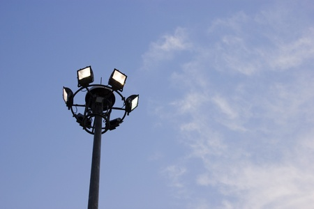 Electric light poles in the park  photo