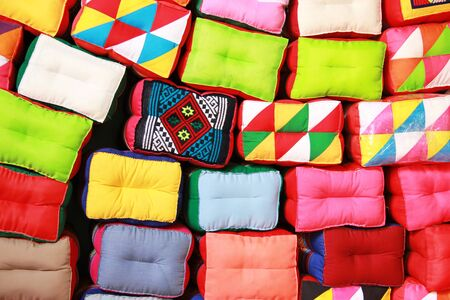The beauty of multi-colored pillows  Stock Photo