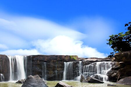 Deep forest Waterfall in Thailand  Stock Photo