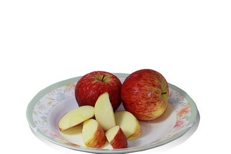 Three  red apple with leaf and half of apple isolated on a white background Stock Photo - 14342464