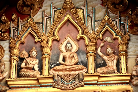 High relief carvings  On the walls of the church in Asia Stock Photo - 15446323