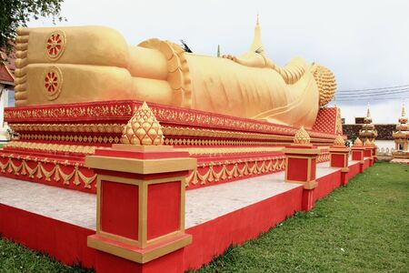 Lying Buddha image in   Vientiane Laos   Stock Photo - 15438681