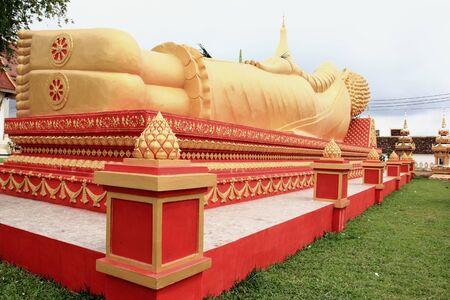 Lying Buddha image in   Vientiane Laos   Stock Photo - 15438681