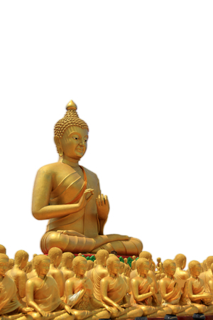 praye: Buddha, Buddhism in China, Japan and Thailand, a white background. Stock Photo