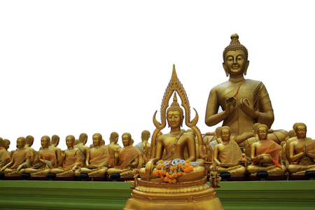 Buddha, Buddhism in China, Japan and Thailand, a white background. Stock Photo
