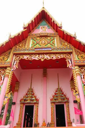 Art church building in pink in thailand