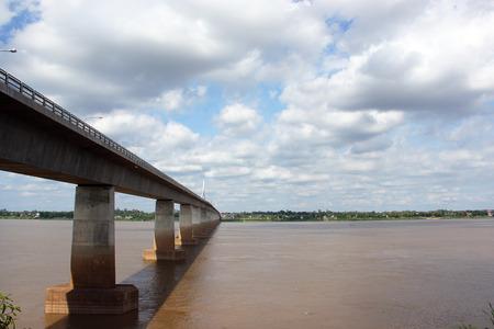 Bridge over the Mekong River Canada border Laos, Asia Stock Photo