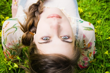 portrait of beautiful young hippie and staring at the camera upside down  Stock Photo - 11487962