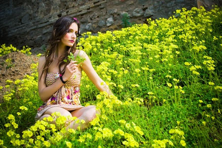 Beautiful hippie girl sitting in a field of flowers with a flower in her hand  Stock Photo