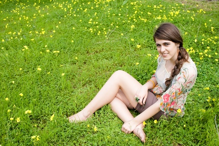 young hippie girl in the field photo