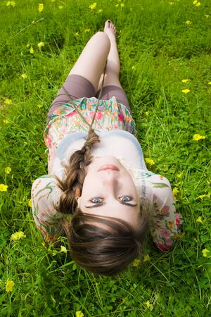 linda: young hippie girl in the field