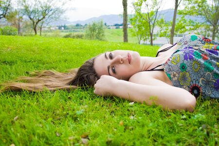 young hippie girl in the field Stock Photo - 12014424