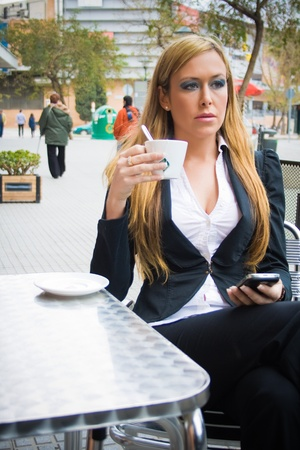 young girl business, having coffee