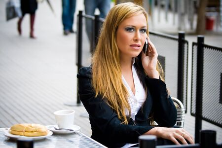 young girl business, talking on the phone very happy  Stock Photo