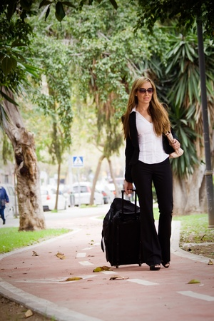 discontinuous: young businesswoman with her suitcase