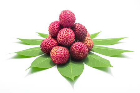Fresh Lychees with leaves on white background.